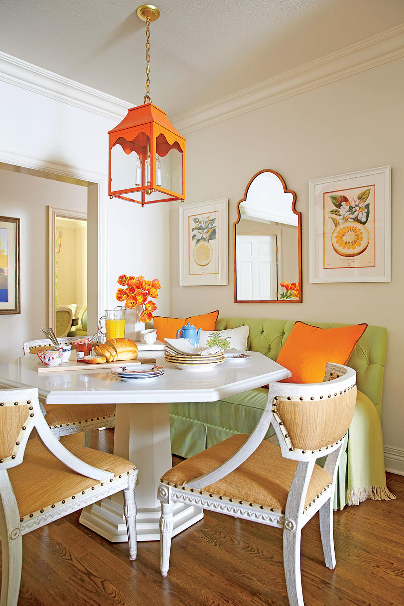 Orange and Green Breakfast Nook