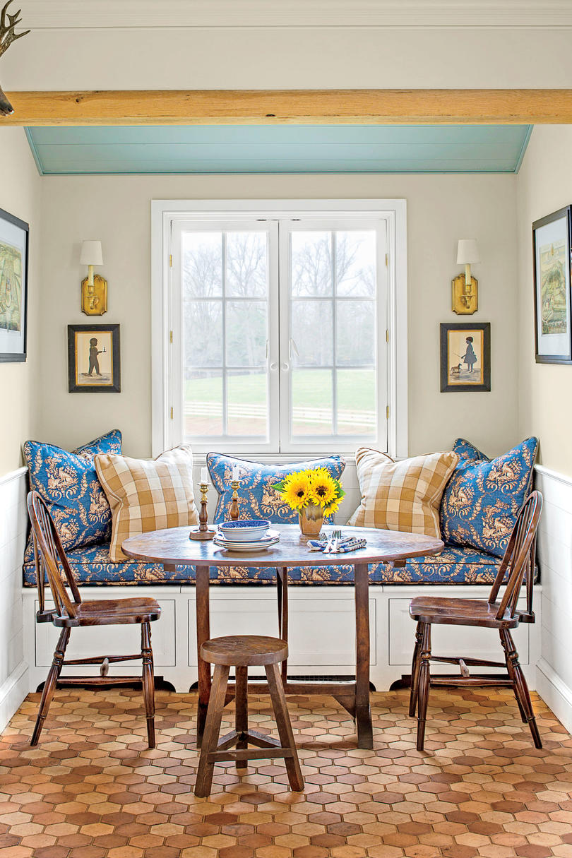 Window Seating. Blue and Yellow Kitchen Dining Nook & Eat-In Kitchens