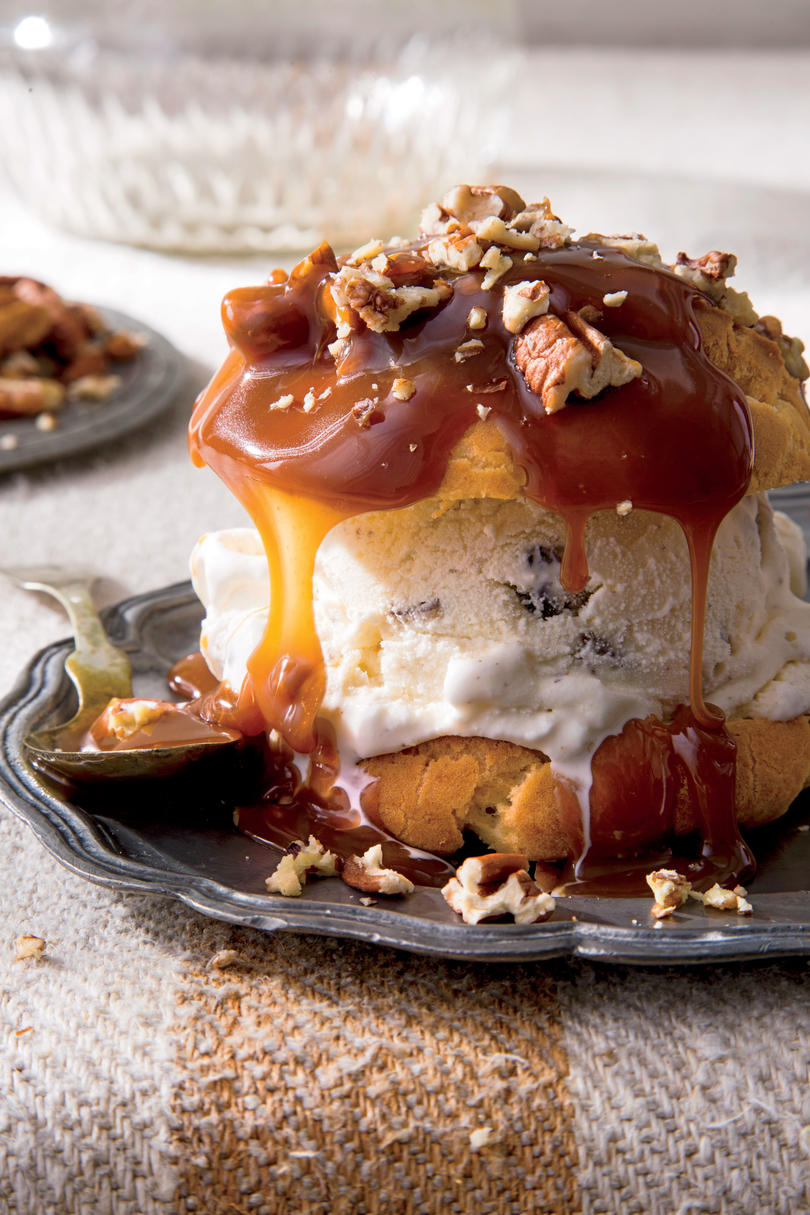 Decadent Cream Puffs with Praline Sauce and Toasted Pecans