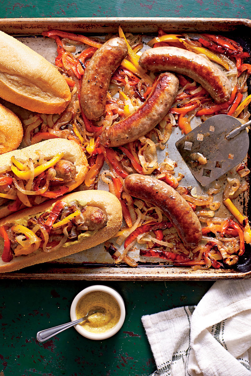 Bratwurst with Peppers and Onions