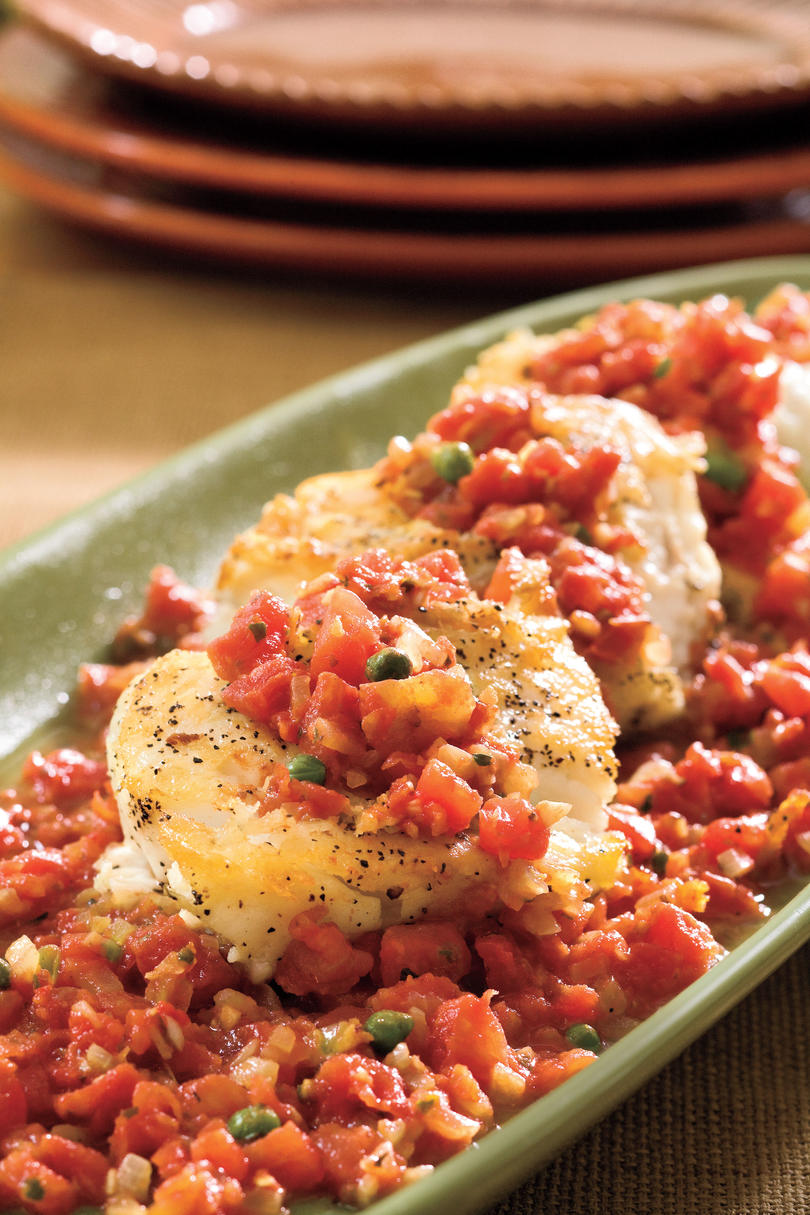 Seared Halibut With Herbed Tomato Sauce recipe