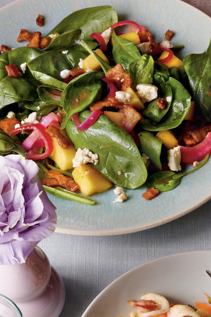 Mango-Spinach Salad with Bacon Vinaigrette