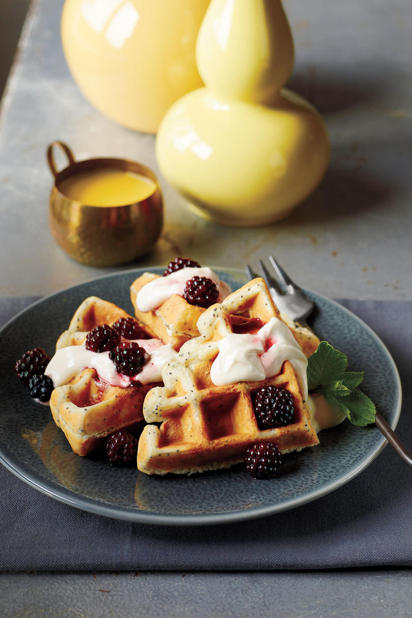 Lemon-Poppy Seed Waffles with Blackberry Maple Syrup