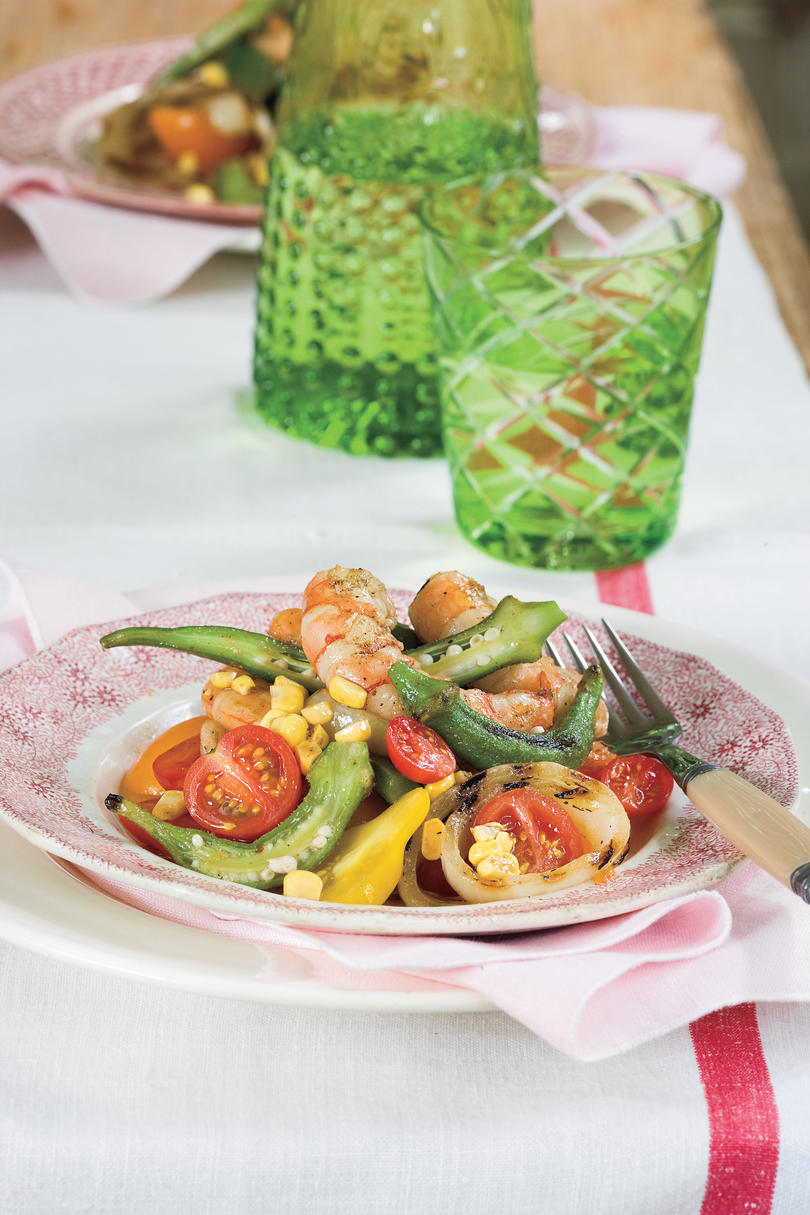 Summer Local Produce Recipes: Grilled Shrimp Gumbo Salad