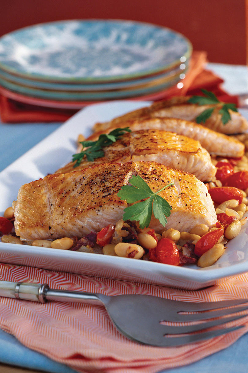 Mediterranean Salmon With White Beans recipe