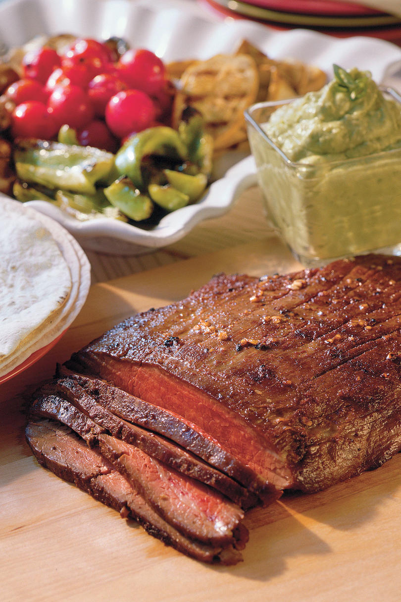 Easy Weeknight Grilling Recipes: Grilled Flank Steak With Guacamole Sauce