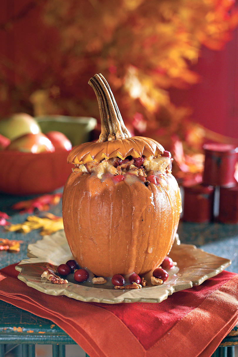 Stuffed Pumpkin with Cranberry-Raisin Bread Pudding