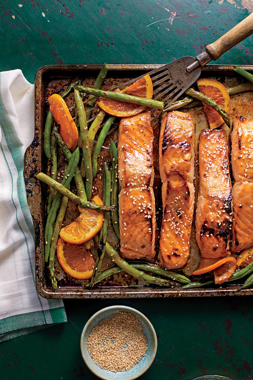 RX_1908_Salmon Recipes_Honey-Soy-Glazed Salmon with Veggies and Oranges