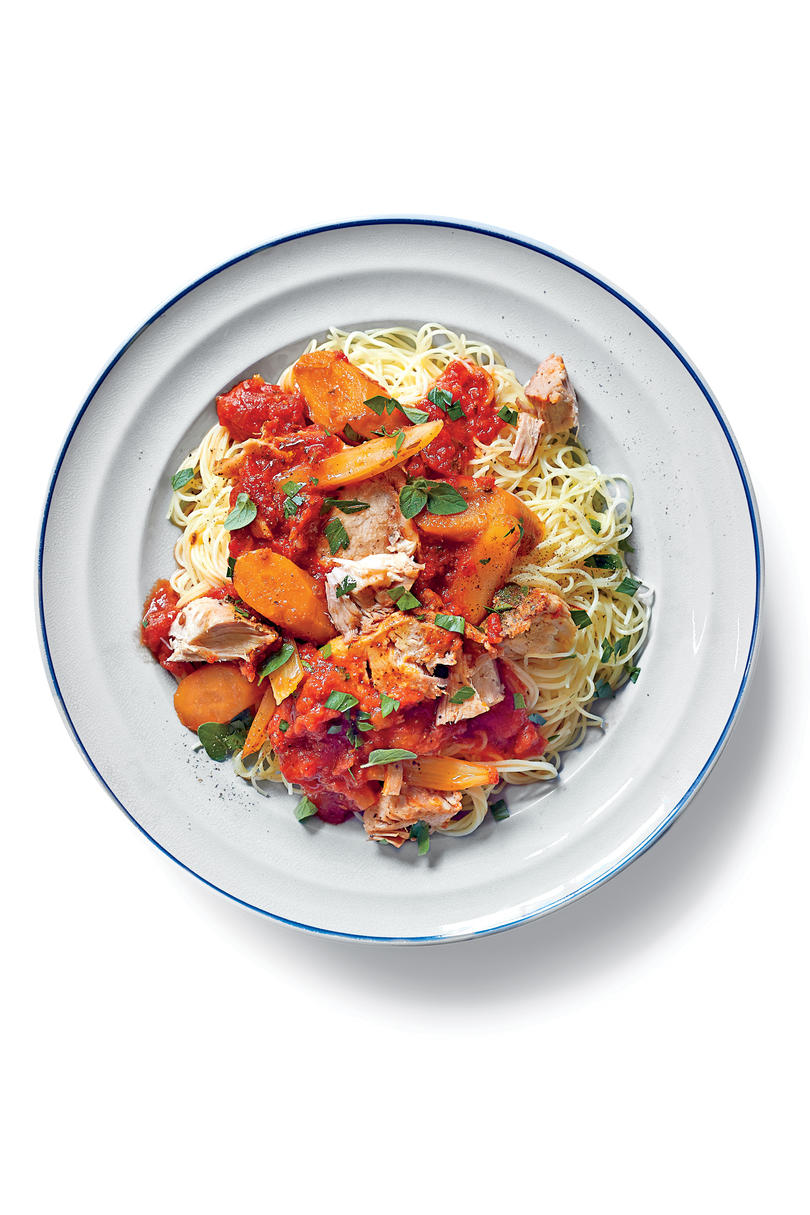Slow-Cooker Parmesan-Herb Pork Loin with Chunky Tomato Sauce