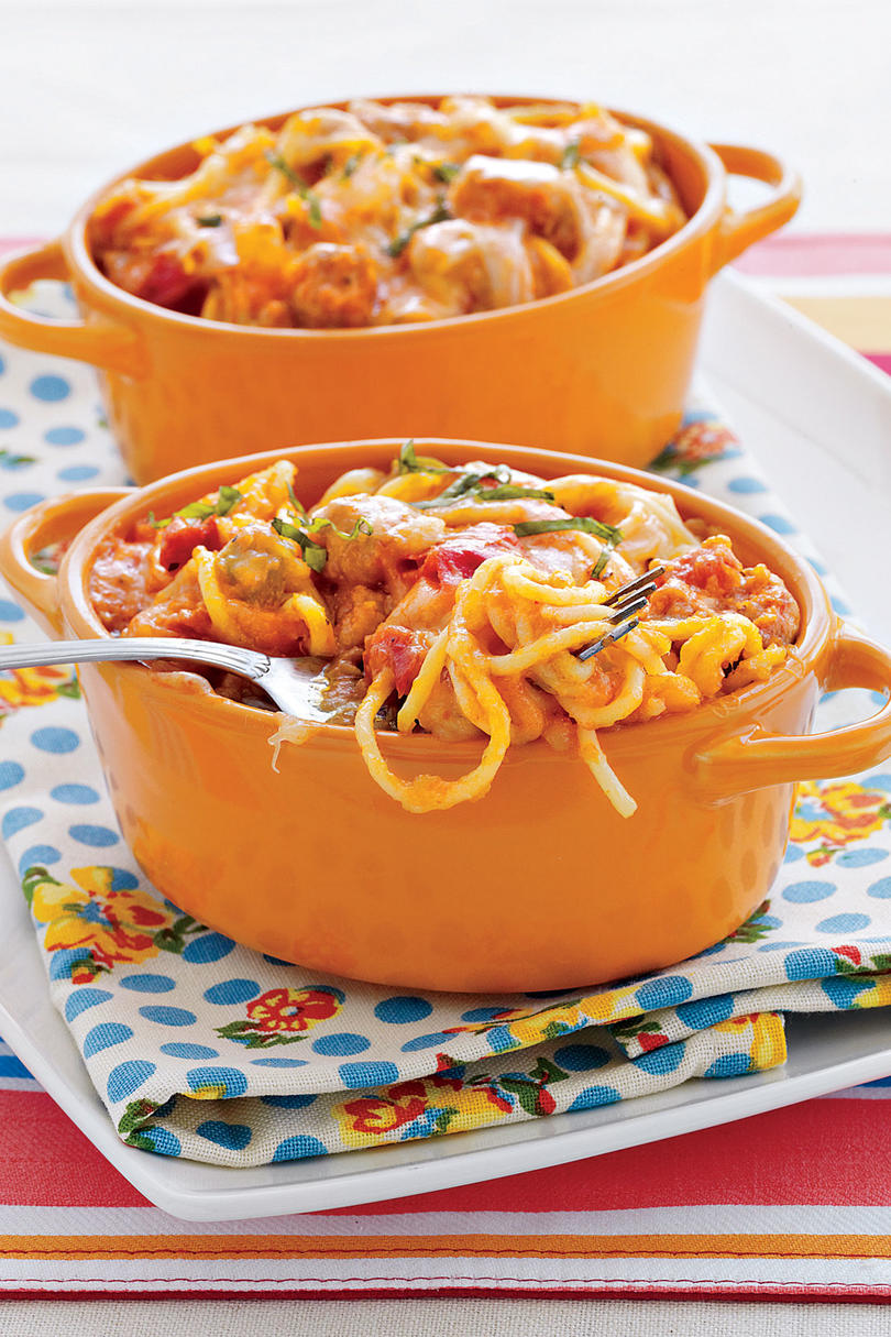 Baked Four-Cheese Spaghetti with Italian Sausage