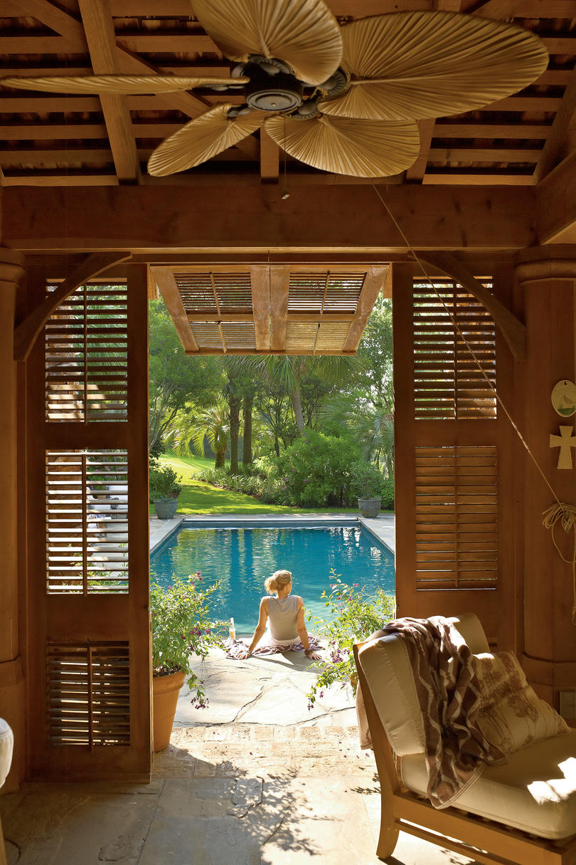 tropical style pool house - southern living