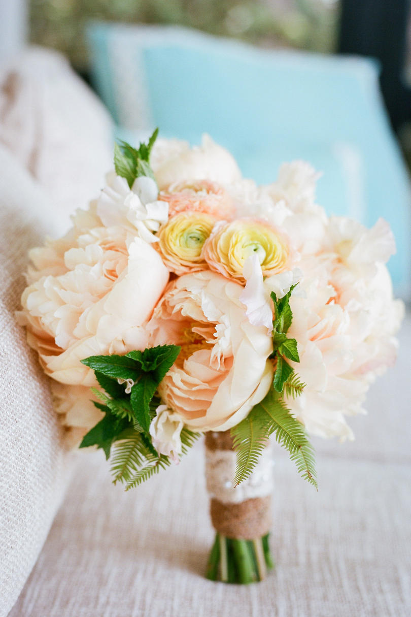 Sweet as spring wedding flowers southern living pale peach peony bouquet junglespirit Gallery
