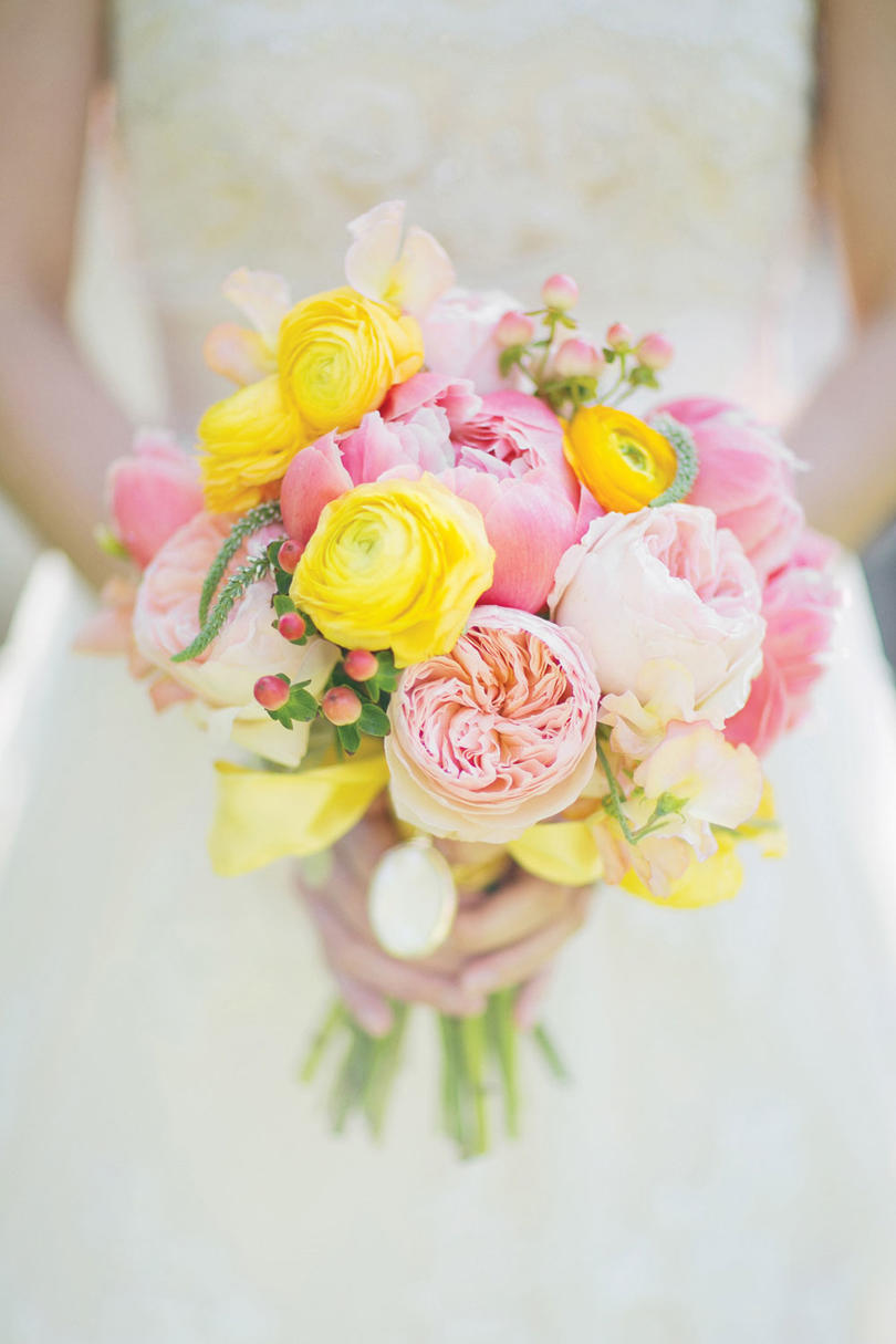 Sweet as spring wedding flowers southern living pink and yellow bouquet mightylinksfo Image collections