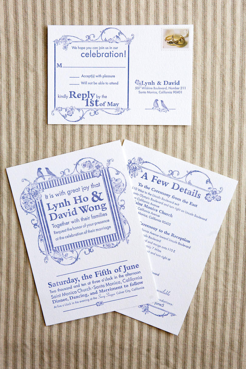 Embellished Blue Invitations