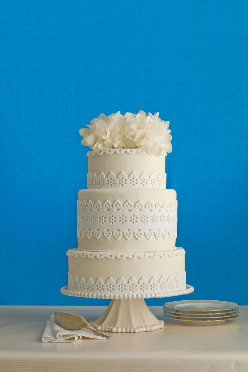 Eyelet Gone Modern Wedding Cake