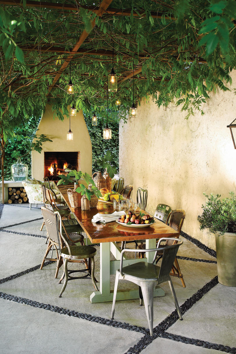 Bungalow the kitchen outdoor living space stone textile at home - Canopy Patio