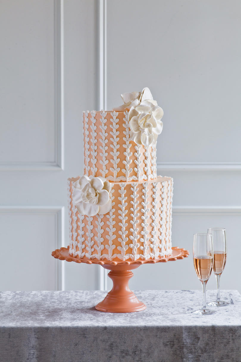 Summer Peach Wedding Cake