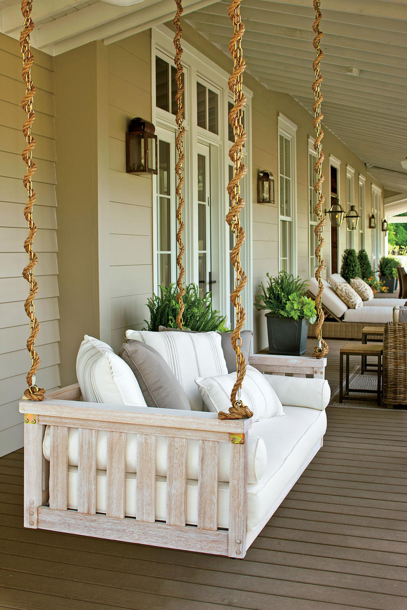 White Farmhouse Porch Swing Peaceful Porch Swings