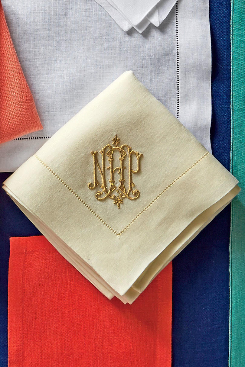 ivory with gold monogram - Linen Monogrammed Napkins