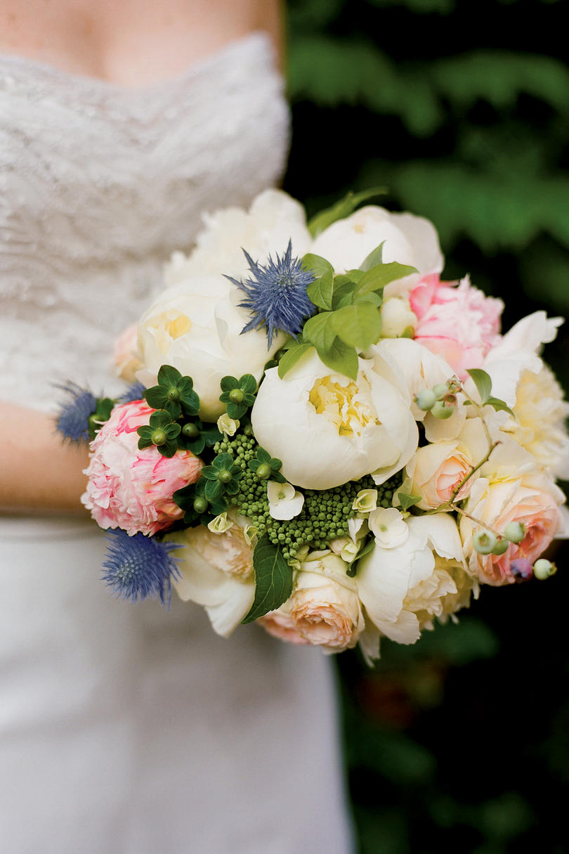 peony hydrangea and garden rose bouquet