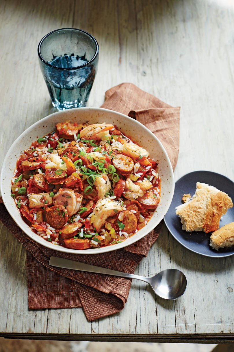Classic mardi gras recipes southern living andouille sausage jambalaya with shrimp forumfinder Image collections