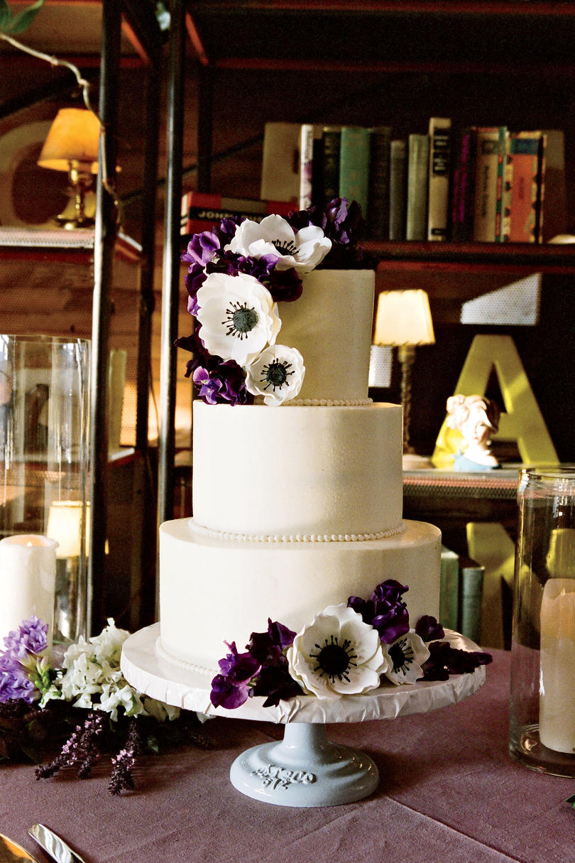 Sugared Anemones Wedding Cake