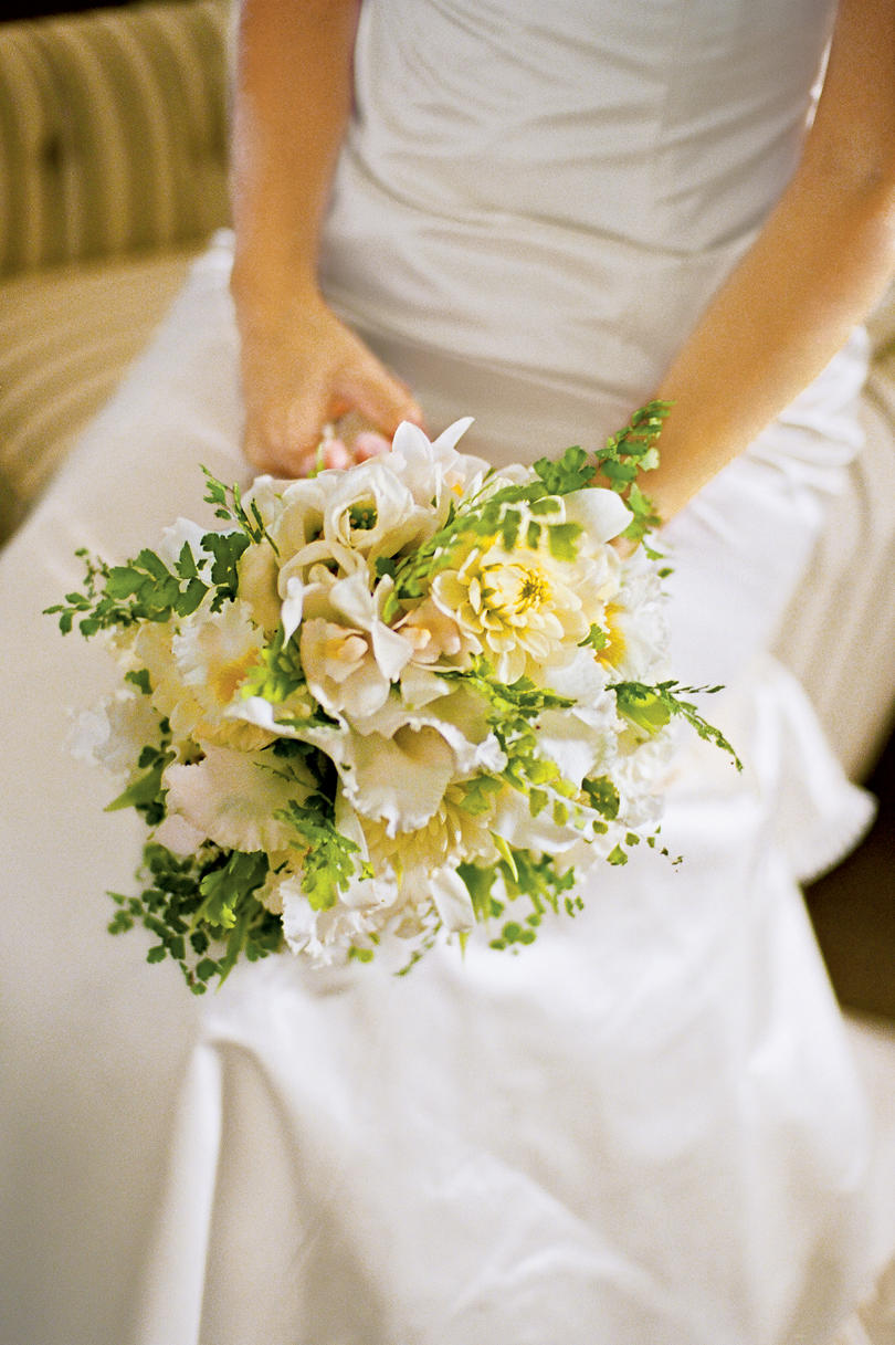 Yellow Flowers Wedding Dress