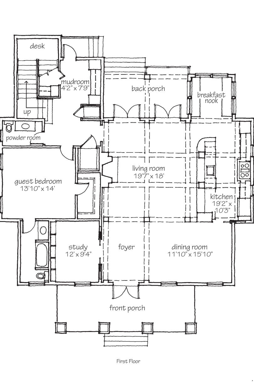 Southern living idea house 2010 bayou bend floor plans for Bayou cottage house plan