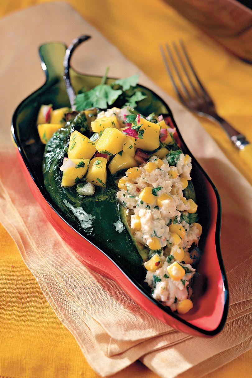 Crab-and-Goat Cheese Poblanos With Mango Salsa