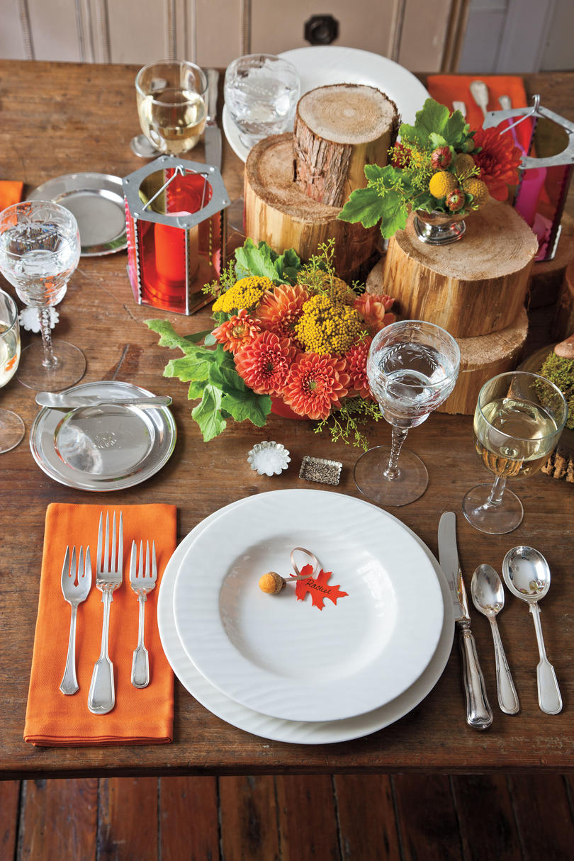 Balance an Elaborate Centerpiece with Basic China. Create this Natural Table Setting & How To Set a Stunning Table - Southern Living