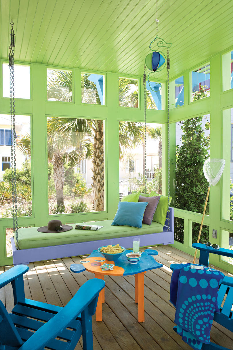 Porch and patio design inspiration southern living for Beach bar decorating ideas