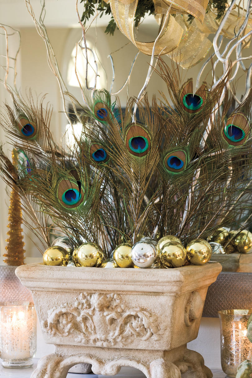 Plaid monograms natural wood ornaments feathers and i couldn t - Christmas Decorating Ideas Peacock Feathers