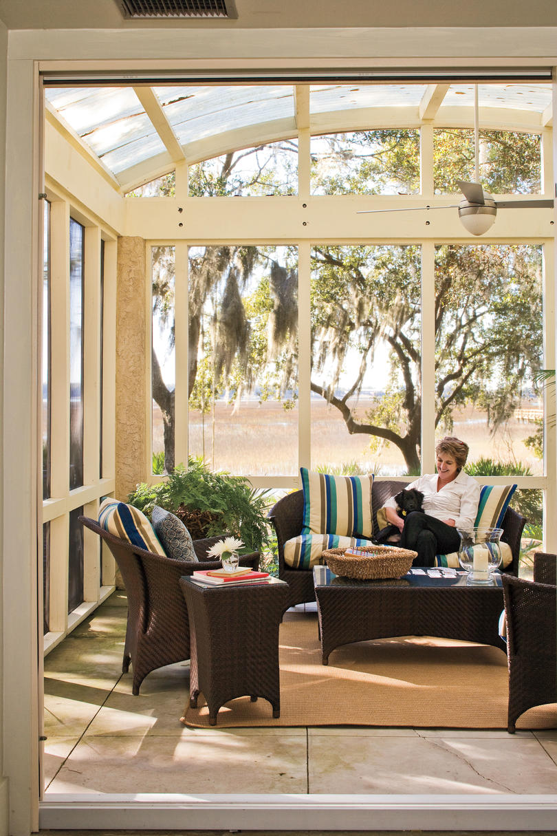 Porch and patio design inspiration southern living for Long porch decorating ideas