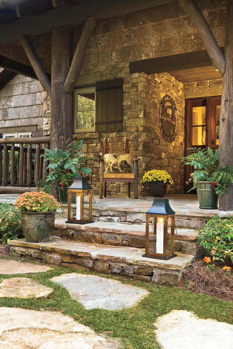 Porch and patio design inspiration southern living for Front porch designs with stone