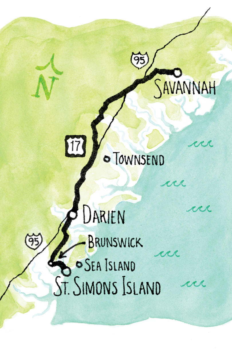Savannah To St Simons Island Southern Living - Us 17 map