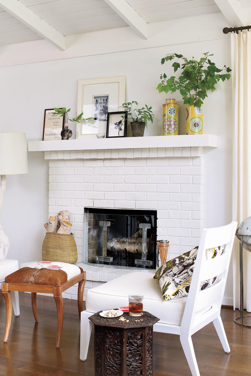 Fireplace Collectible Display & 25 Cozy Ideas for Fireplace Mantels - Southern Living
