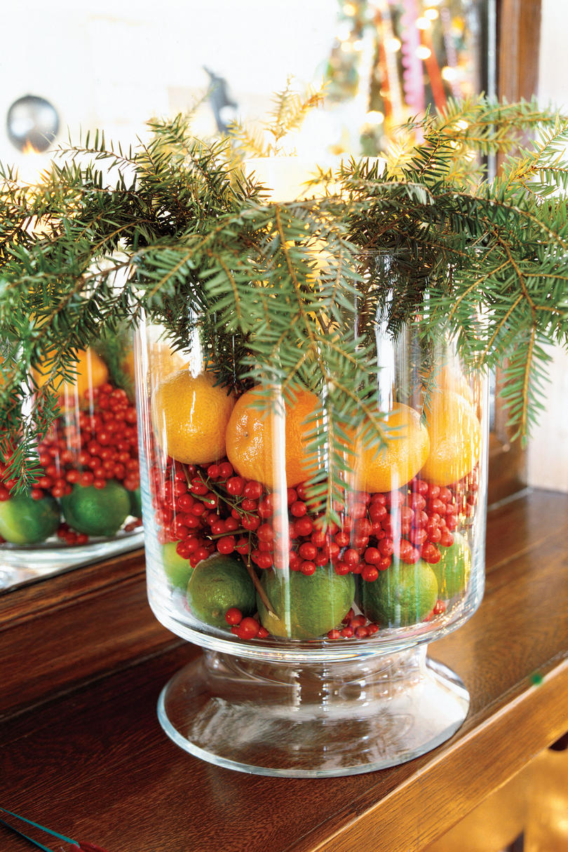 christmas decorating idea hurricane arrangement