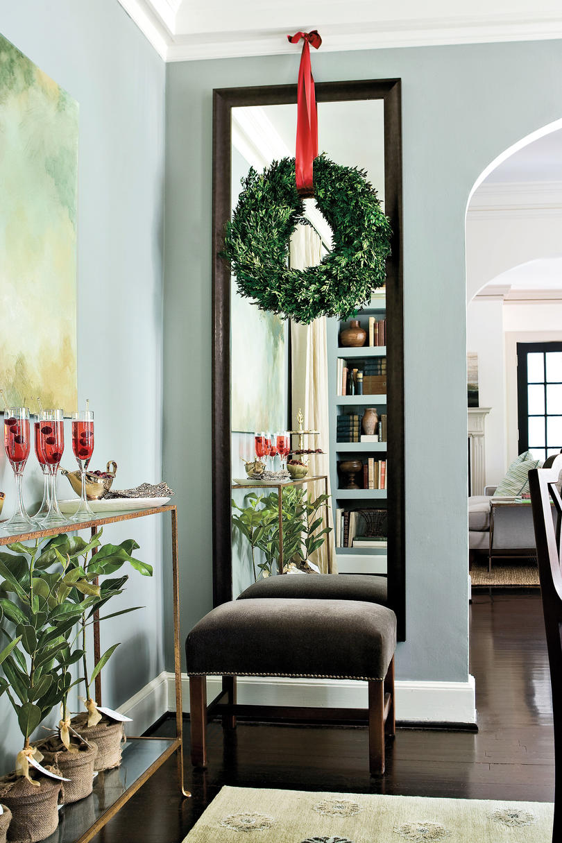100 fresh christmas decorating ideas southern living christmas decorating mirror stools geotapseo Gallery