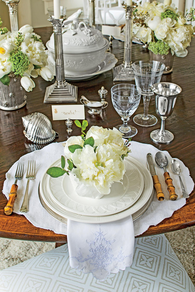 White Dining Room Place Setting