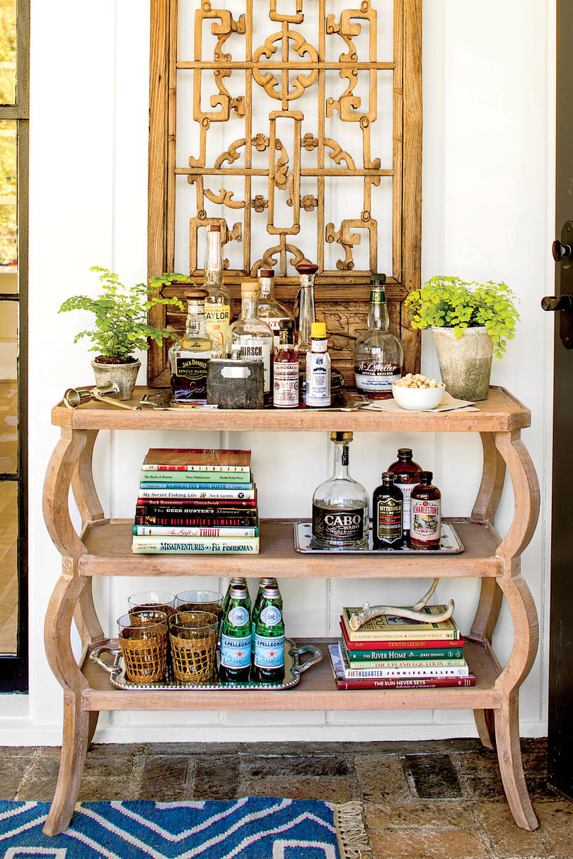 Handsome bar cart ideas southern living - How to decorate a bar ...
