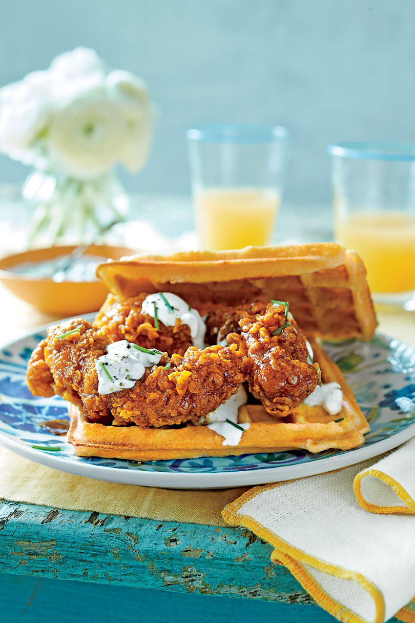 Hot Chicken-and-Waffle Sandwiches