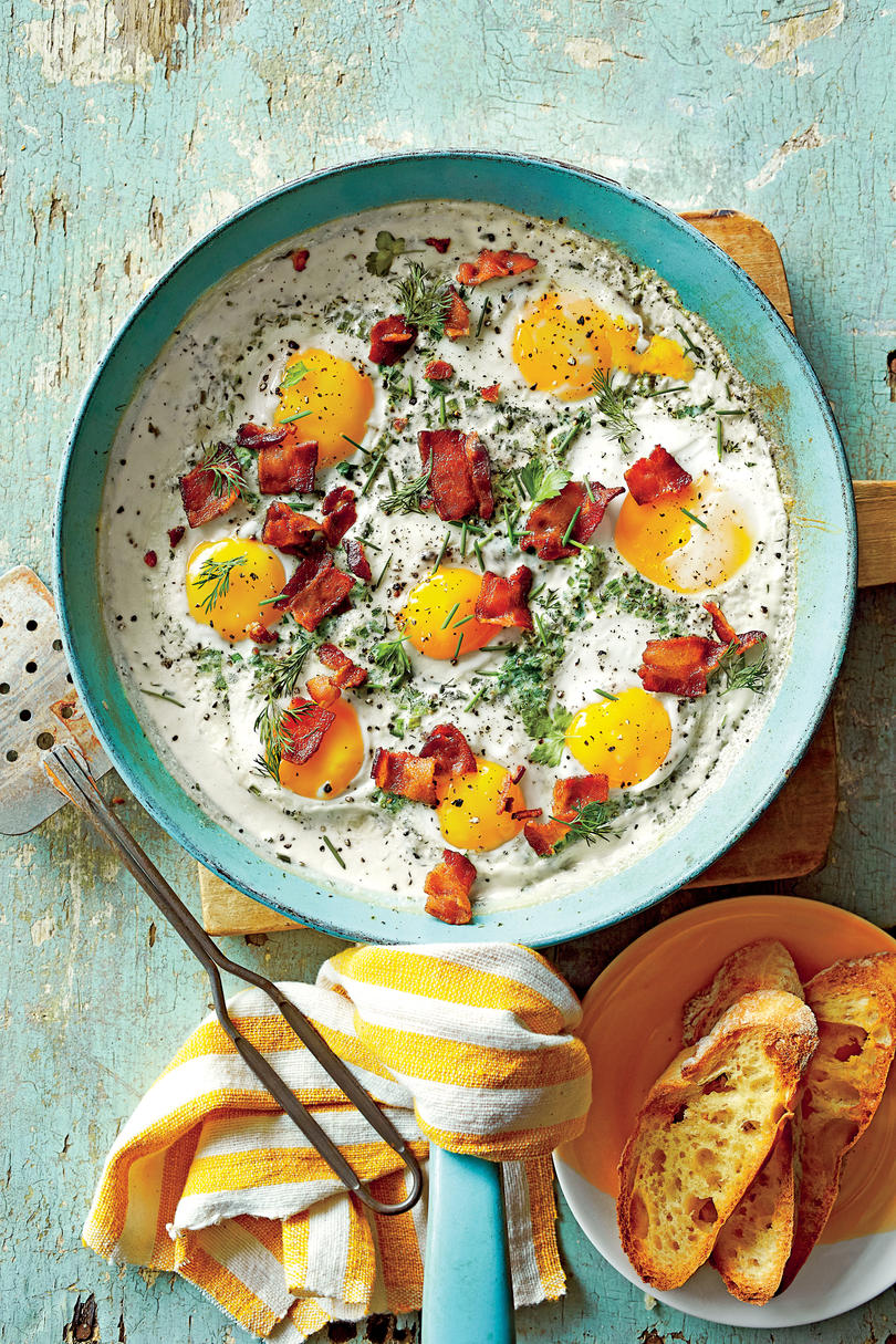 Creamy Baked Eggs with Herbs and Bacon