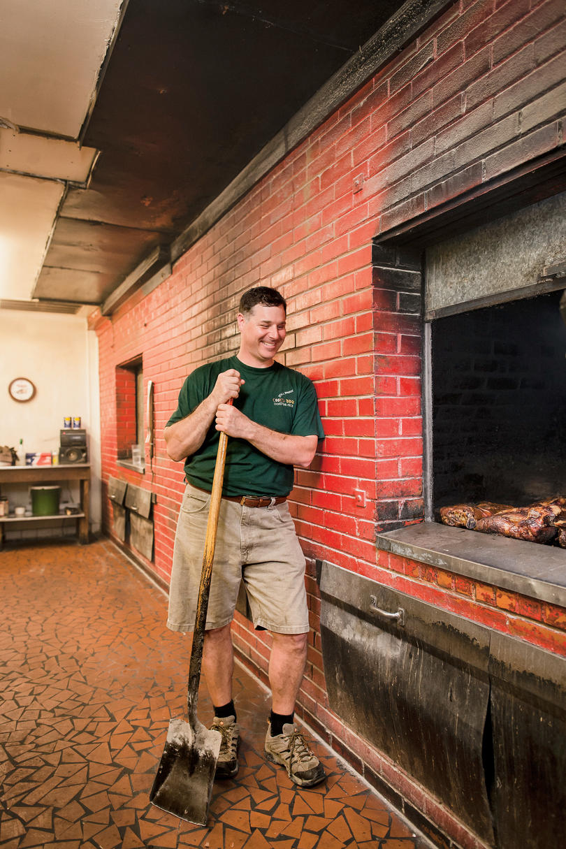 Avery Payne of Cook's Barbecue in Lexington, North Carolina