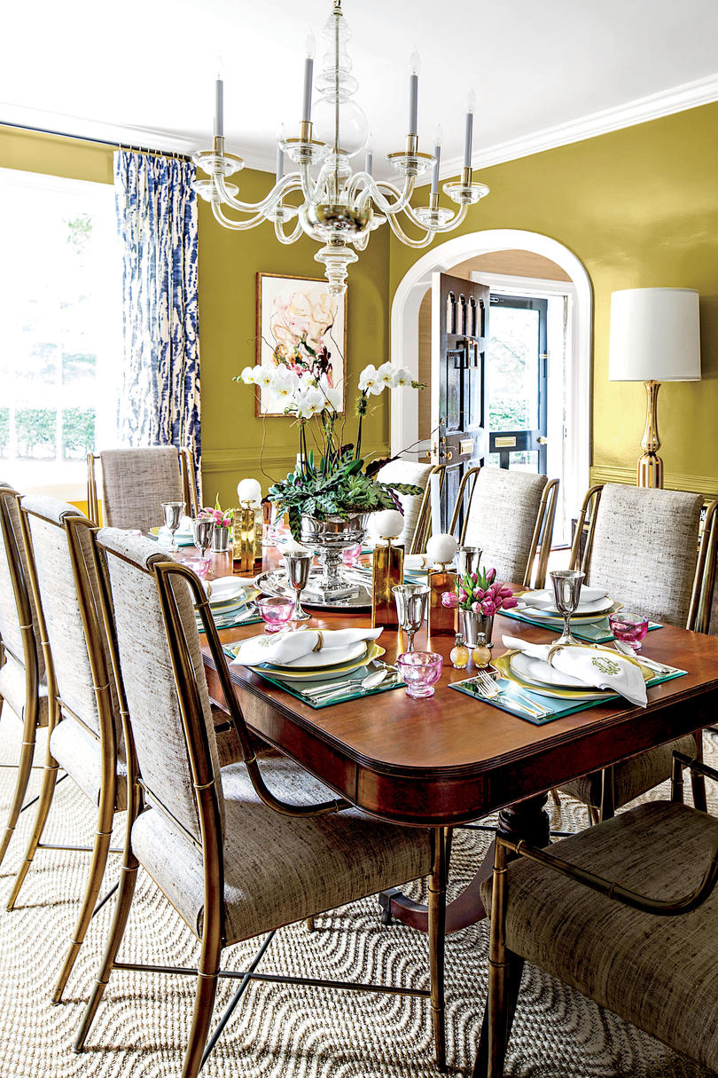 Dining Room with Chartreuse Walls