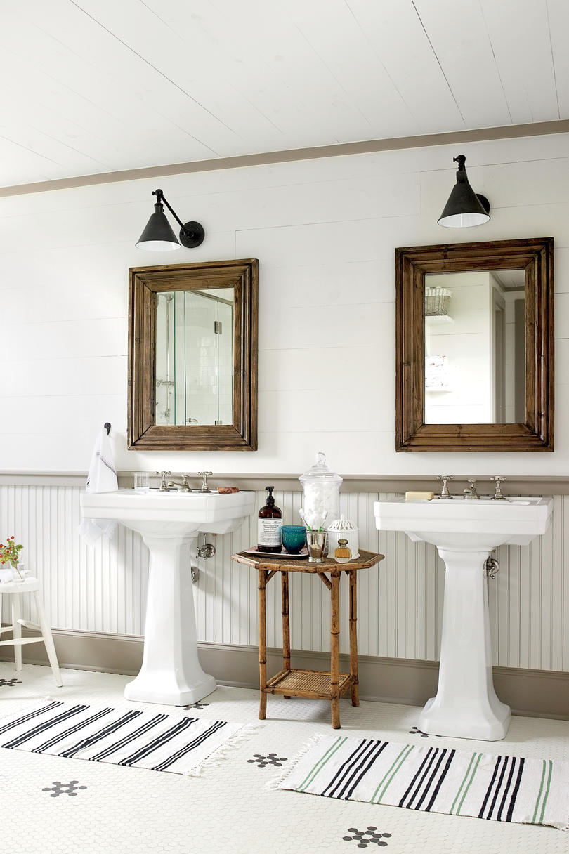 bath-shiplap-pedestal-sinks-2261001-144- Old Farmhouse Before And After Small Kitchen Ideas on budget kitchen remodel before and after, cottage kitchen makeover before and after, diy kitchen before and after, farmhouse renovation before and after, farmhouse remodel before and after,