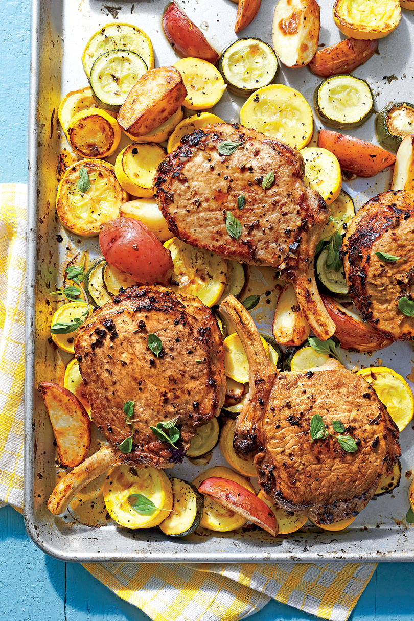 Greek Pork Chops with Squash and Potatoes