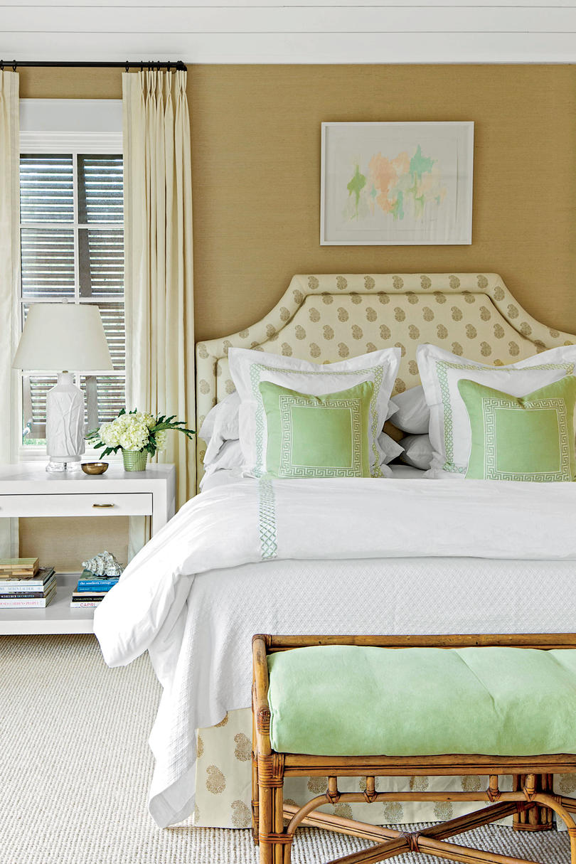Coastal Bedroom with Layered Decor Gracious Guest