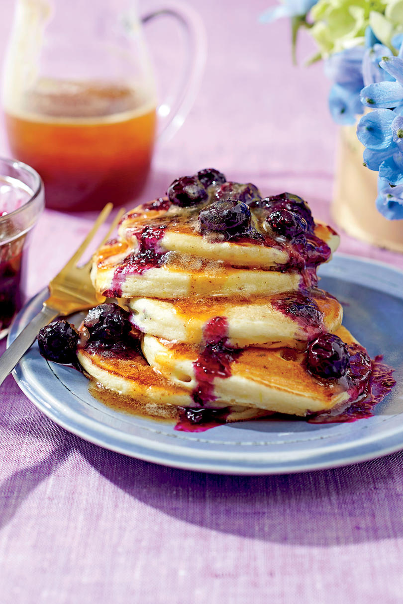 RX_1605 Ricotta Pancakes with Brown Butter-Maple Syrup and Blueberry Compote