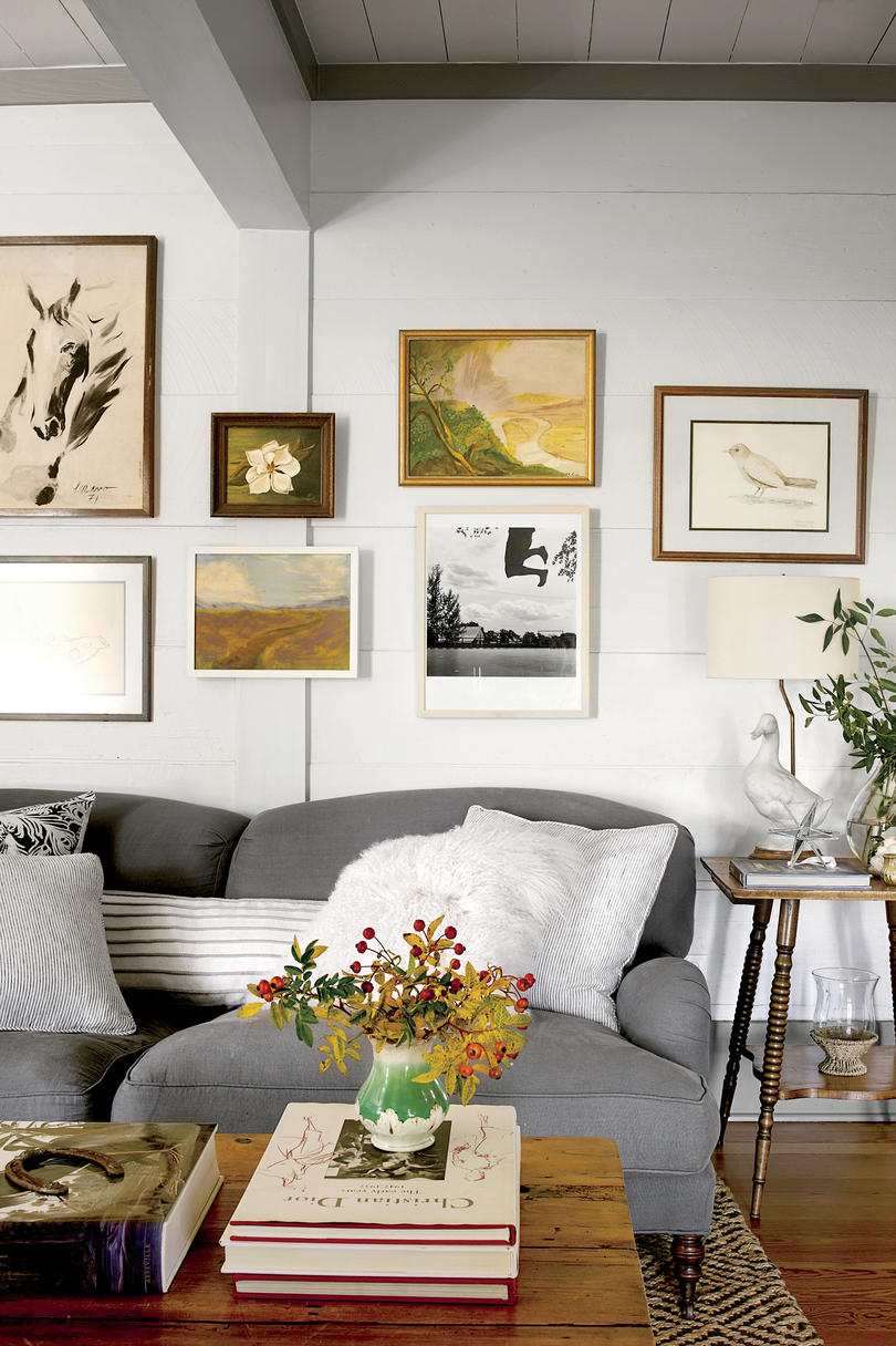 Simple Shiplap Den Gallery Wall