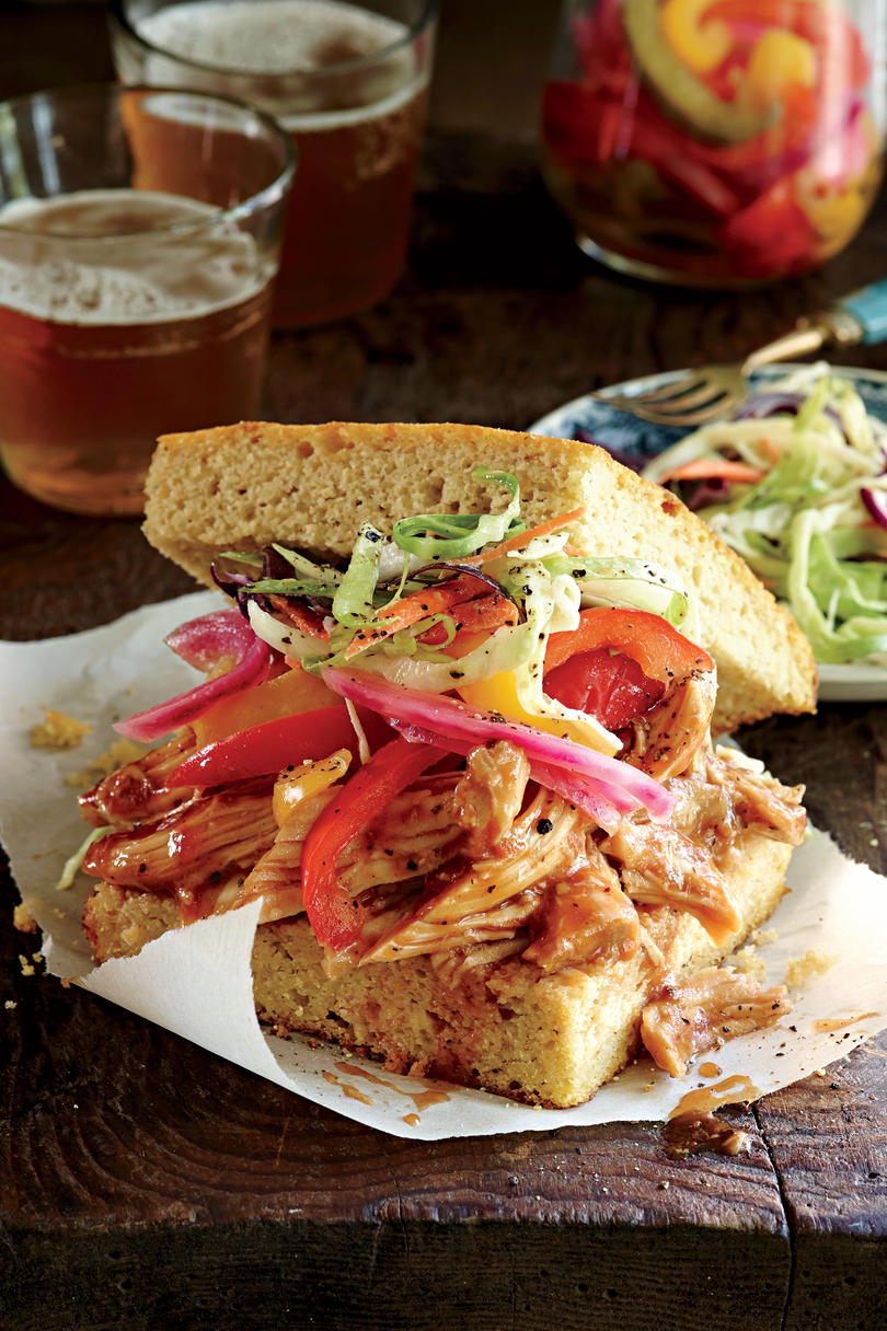 Slow-cooked Barbecued Chicken Sandwiches